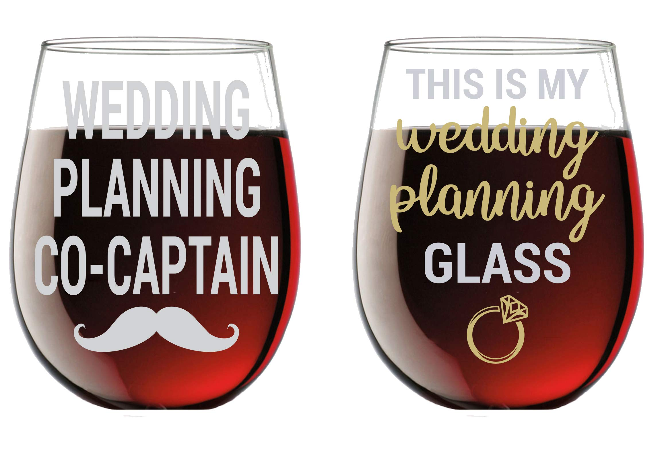 This is My Wedding Planning Glass/Planning Co-Captain - Funny 15oz Crystal Wine Glass - Stemless Wine Glass Couples Sets - Perfect idea for Bridal and Engagement Gifts