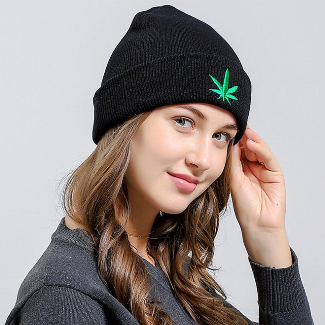 Belsen Damen ich Marihuana-Blatt Hiphop Beanie Strick M/ütze Skull Cap