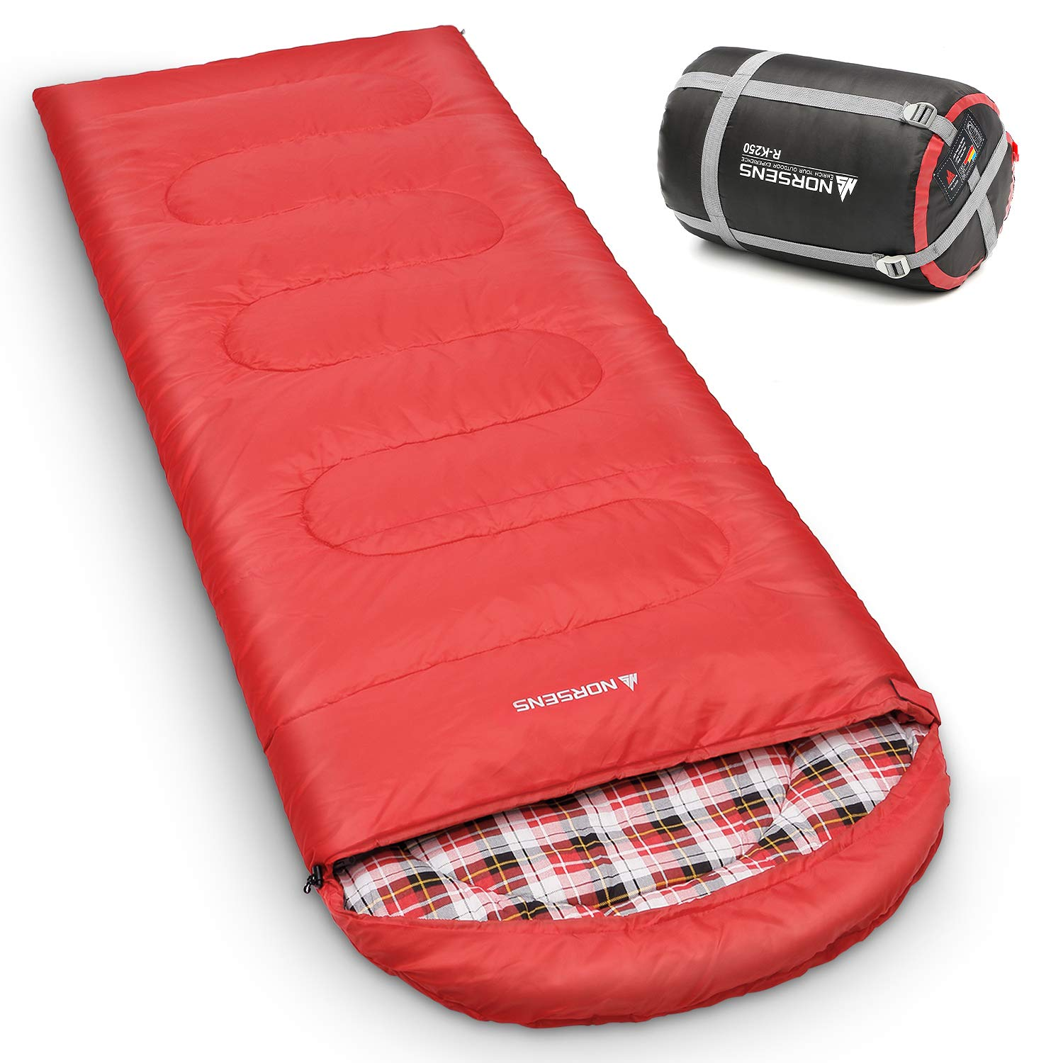 NORSENS 0 Degree Celsius Cold Weather Sleeping Bag for Camping, Backpacking, Hiking. Large Outdoor Compact Sleeping Bags with Compression Sack for Adults. 90.5 x 32.6 inch (5.red with 4.6lbs Filling) by NORSENS
