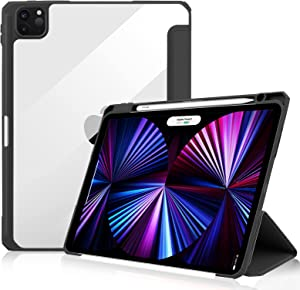 JUQITECH Case for iPad Pro 11 Inch Case 2021 3rd Generation, Full-Body Protection Smart Slim Trifold Stand Auto Sleep/Wake Cover with Pencil Holder for iPad Pro 11