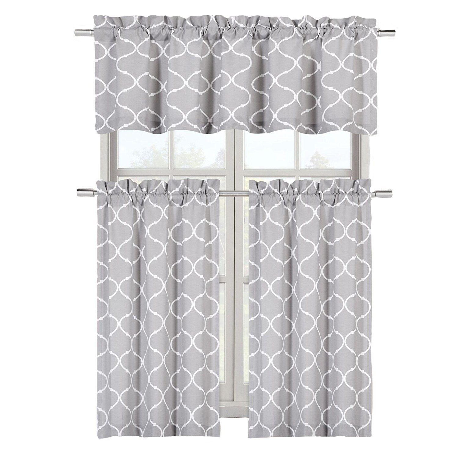 Regal Home Collections Shabby Trellis Kitchen Curtain Tier & Valance Set - Assorted Colors (Maison Gray)