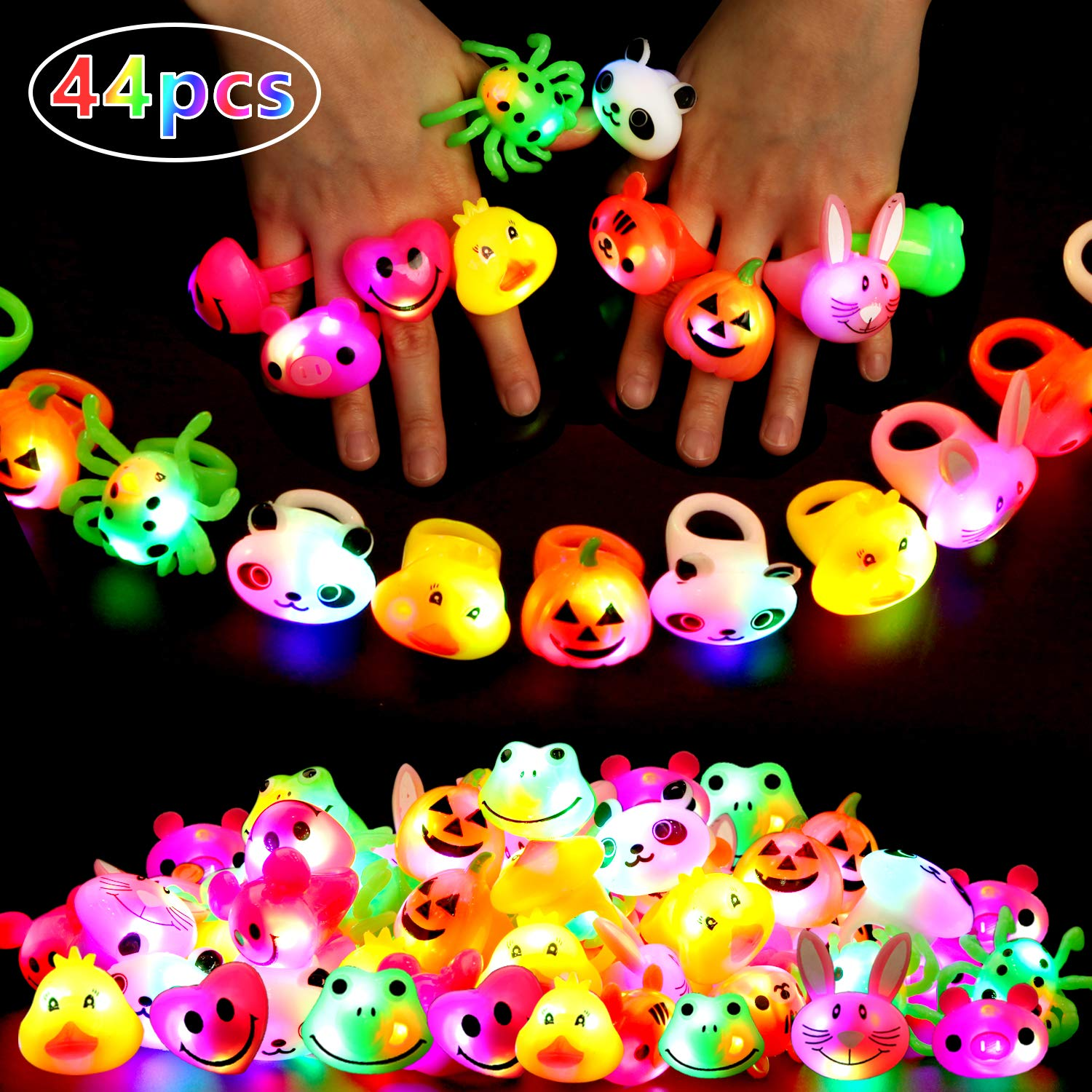 44 Pack Light Up Toys Party Favors for Kids/Adults, 40 Pack Light Up Rings Glow in The Dark Party Supplies and 4 Pack LED Glasses Halloween Birthday Gifts for Boys/Girls by MAO MAO JEWELRY