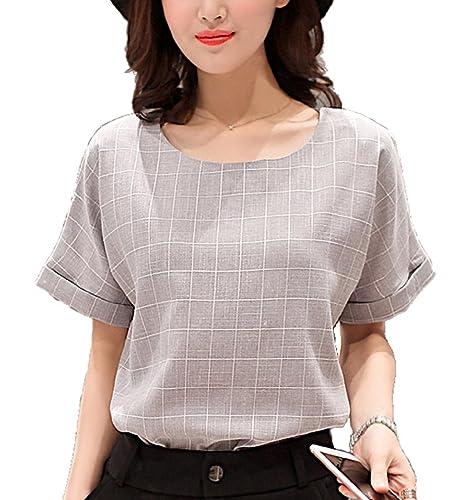 (ティアーズカム)TearsCaM半袖サマーシャツゆったり着やすい合わせやすい大人カッコイイレディース(ライトグレーL)