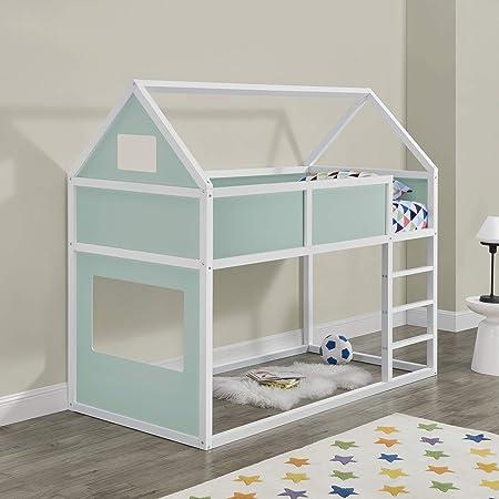 Litera para niños con Escalera 200 x 90 cm Cama para niños de Madera Pino Cama Infantil Forma de casa Blanco y Verde Menta: Amazon.es: Hogar