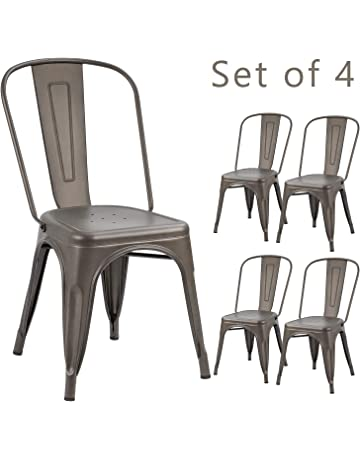 29f4c7aecf Devoko Metal Indoor-Outdoor Chairs Distressed Style Kitchen Dining Chairs  Stackable Side Chairs with Back