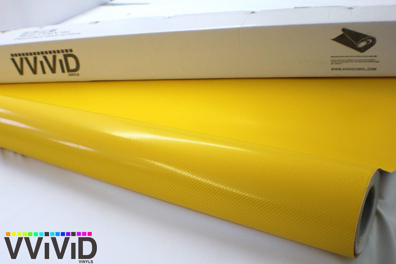 Yellow Carbon Fiber 60 x 1ft Car Wrap Vinyl Roll with Air Release 3MIL-VViViD8 VViViD Vinyls 5559015369