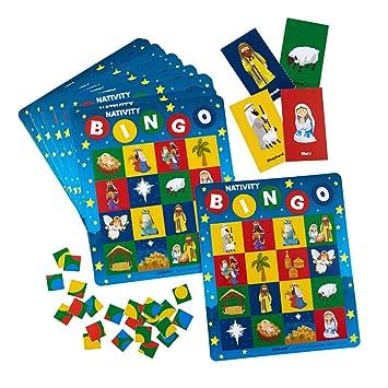 Juego de Bingo de Navidad con Escena de Navidad para niños, 7 ...