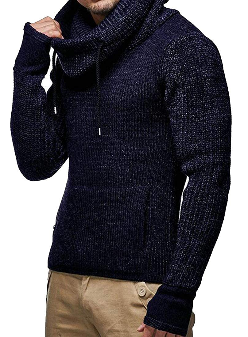 Joe Wenko Mens Turtleneck Jumper Pullover Thicken Knit Winter Sweater