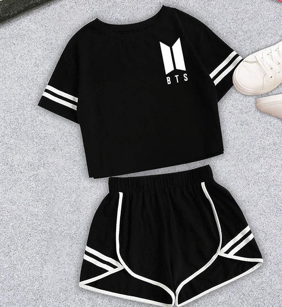 JIJUEMIU KPOP BTS Crop Top /& Shorts Set Damen BTS Bangtan Boys Tshirts Kurze Hosen Anzug Sommer Sportbekleidung Oberteile /& Jogginghose Sport Set