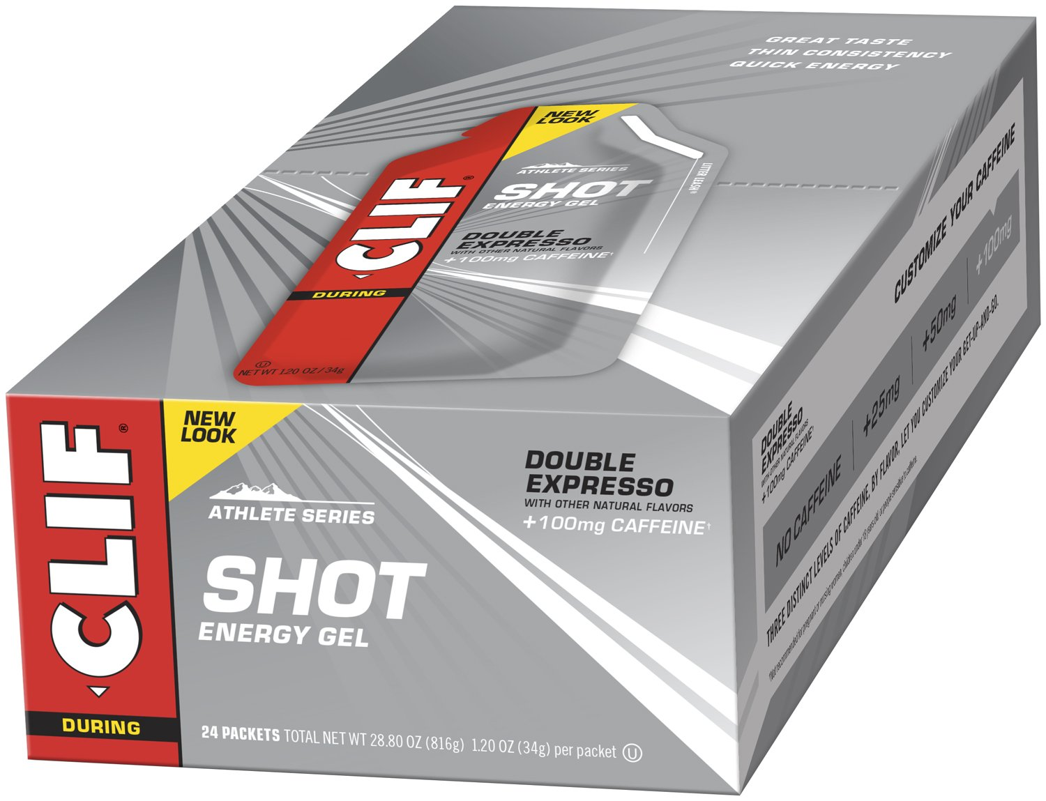 CLIF SHOT - Energy Gel - Double Espresso - With Caffeine 1.2 Ounce Packet, 24 Count