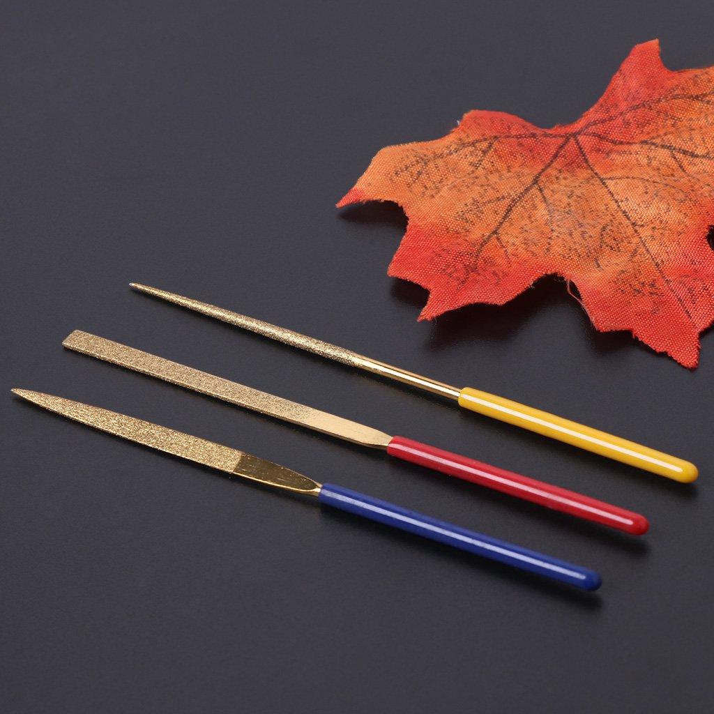 Deendeng 3 Pcs Diamond Needle File Set Titanium Plating Stone Jewelry Wood Craft DIY Tool