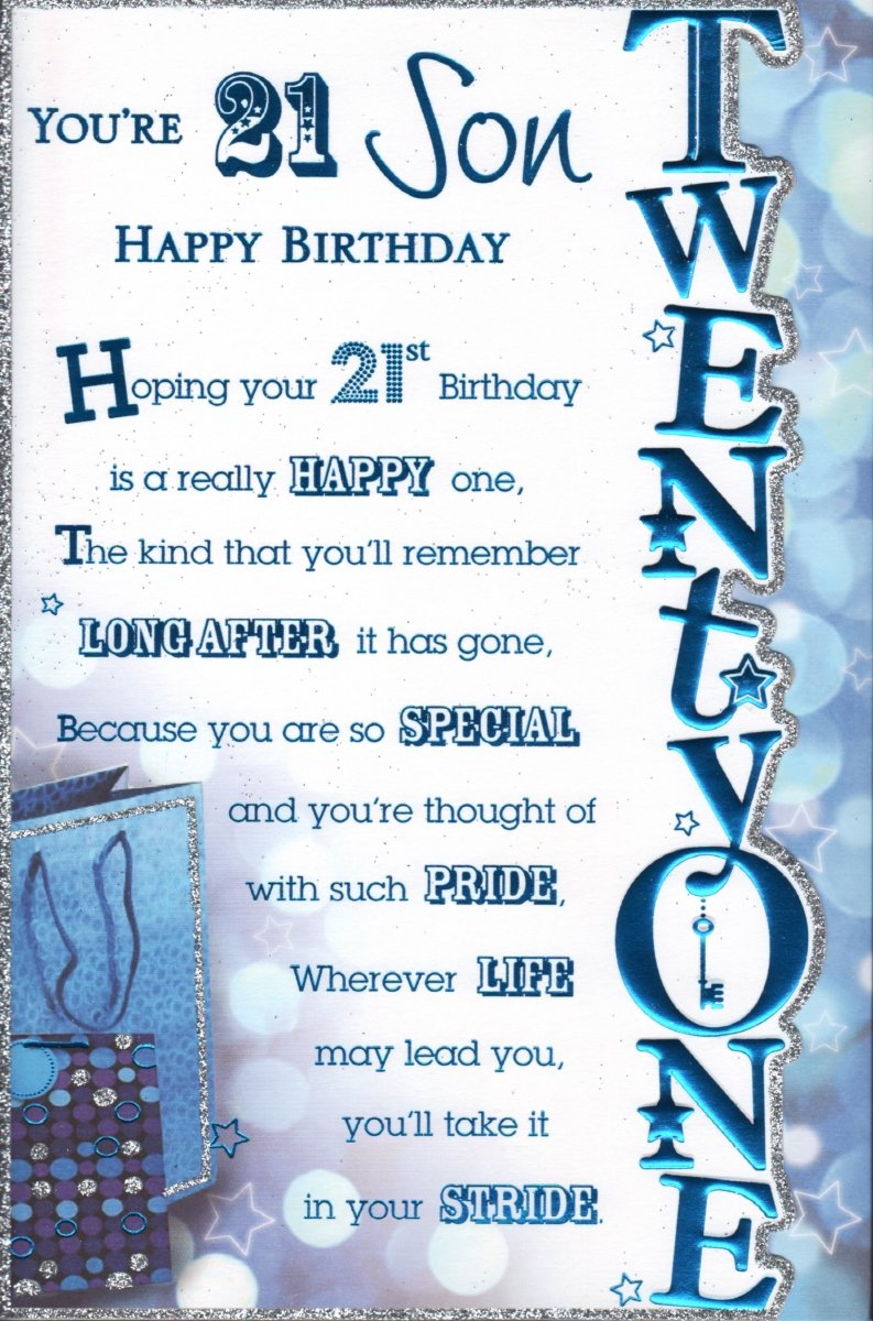 Happy 21st BirthDay Son Birthday Card Happy 21st Birthday Son – Happy Birthday Card Son