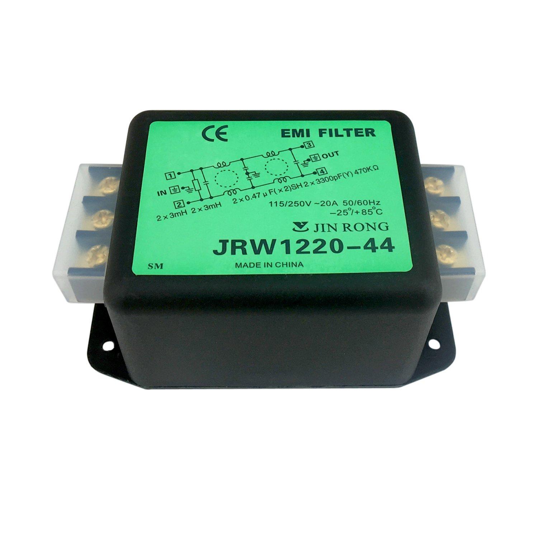 Noise Suppressor Power EMI Filter Termianl Single-Phase Line-Conditioner JREle AC 115/250V 20A JRW1220-44