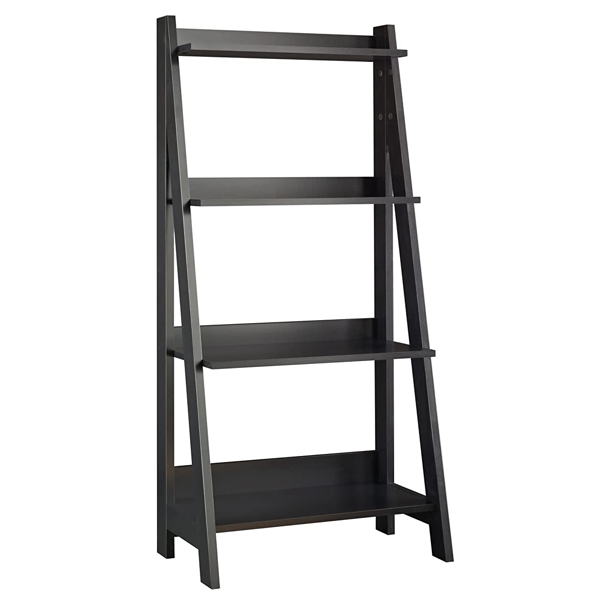 Bush Furniture Alamosa Ladder Bookshelf in Classic Black