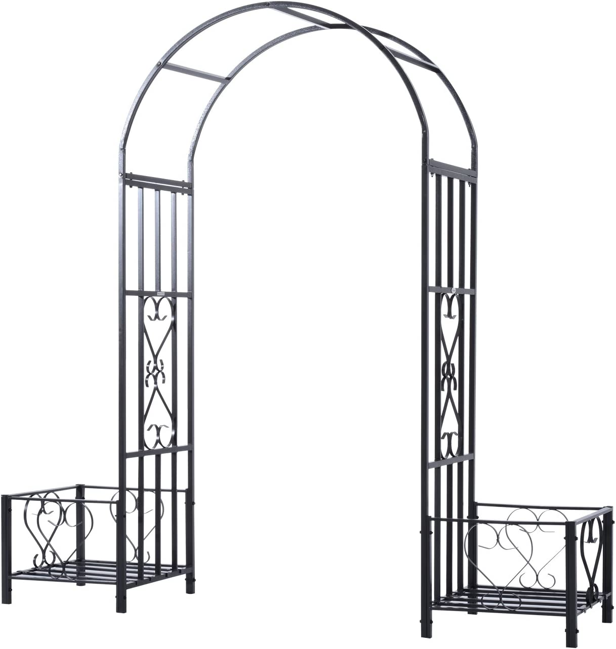 Outsunny Decor Metal Backyard Garden Arbor Arch Trellis with Side Planter Boxes, Beautiful Classic Style, & Steel Build
