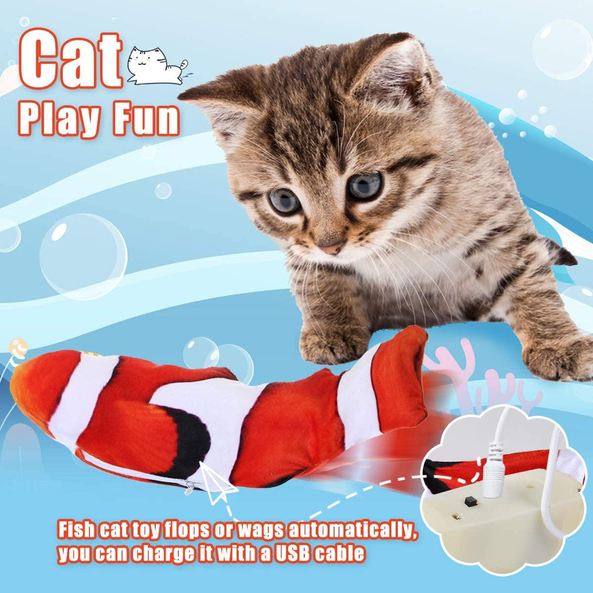 Plush Electric Wagging Fish with USB charge Simulation Cat Toy WAS £9.99 NOW £5.99 w/code Jeteven9M @ Amazon