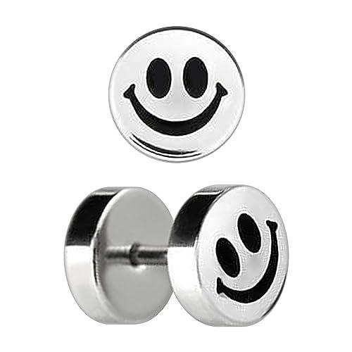 VOTREPIERCING Falso Dilatador Piercing Oreja Acero 316L Grabado Smiley 1.2 x 6 x 8 mm: Amazon.es: Joyería