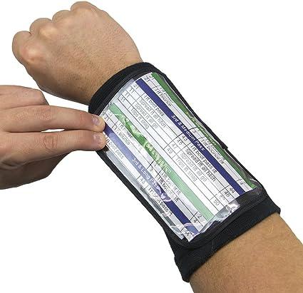Football Quarterback Triple Insert Playbook Wristband Multi-Sport Play Holder B