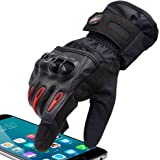 Protective Motorcycle Gloves Powersport Waterproof Full Finger Men Women Gloves Winter Warm Touch Screen Gloves for Cycling Racing Skiing Mountain Street Bike Snowmobile (Black, S)