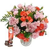 Freesia & Carnation Fresh Flowers Bouquet with FREE Chocolates - Pink Freesia and Orange Carnations for Birthdays, Anniversaries and Special Occasions