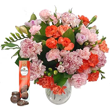 Freesia carnation fresh flowers bouquet with free chocolates freesia carnation fresh flowers bouquet with free chocolates pink freesia and orange carnations for mightylinksfo