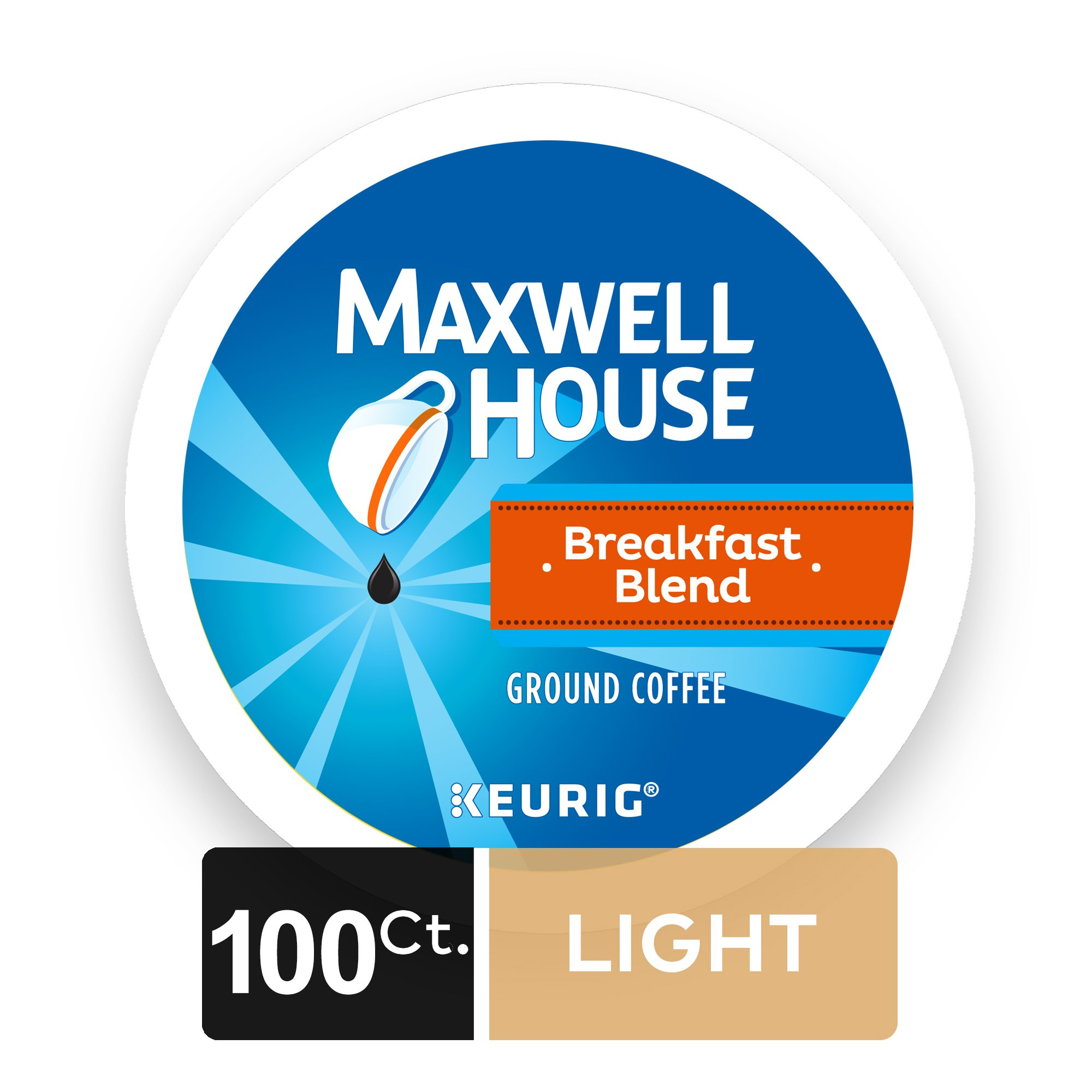 Maxwell House Breakfast Blend Coffee, K-CUP Pods, 100 Count
