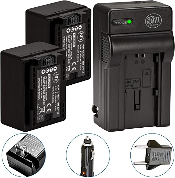 BM Premium 2 BP-718 Batteries and Charger for Canon Vixia HFR80