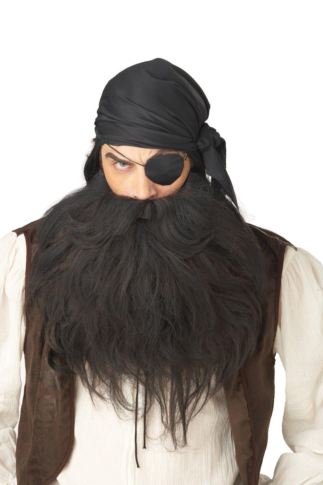 California Costumes Pirate Beard And Moustache, Black, One Size Costume Accessory