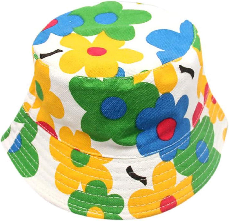 New Boys Girls Floral Pattern Bucket Hats Sun Helmet Cap Sunhats for Kids Cap Summer Outdoor Breathable Hats