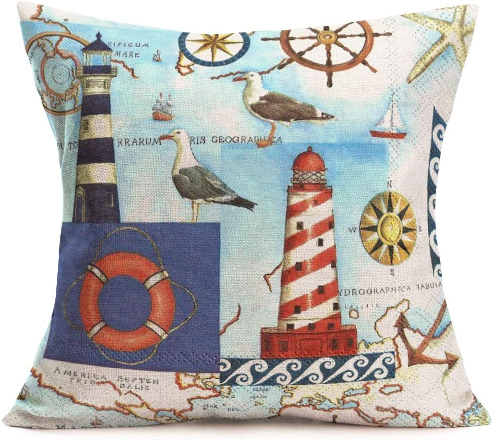 Smilyard Vintage Nautical Compass Pattern Decorative Pillow Covers Cotton Linen World Map Throw Pillow Case Sea Gull Anchor Life Buoy Pillow Cover 18x18 Inch Home Decor Cushion Cover Compass 19 Home