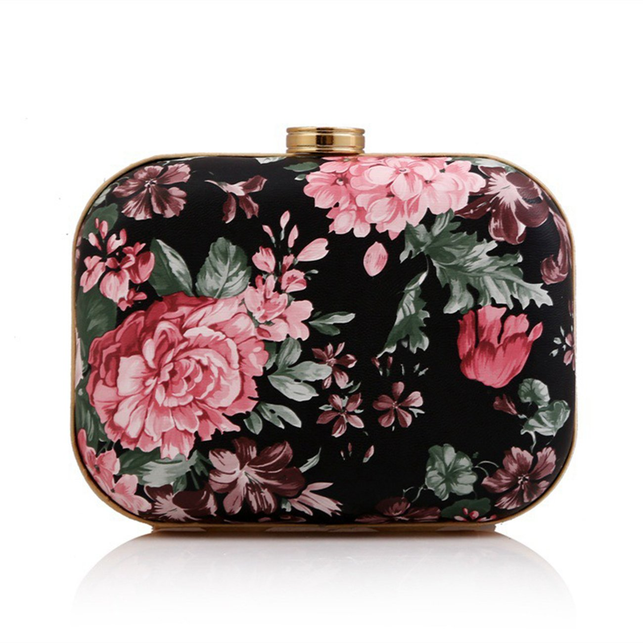 Fit & Wit Faux Leather Evening Cocktail Wedding Party Handbag Clutch Purse Shoulder Bag - Peony Flower - Pink by Fit & Wit