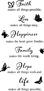 Outus Faith Wall Decals Vinyl Faith Love Hope Family Happiness Life Quote Wall Stickers Black Wall Decor Art for Home Bedroom Bathroom, 27.5 x 12 Inches