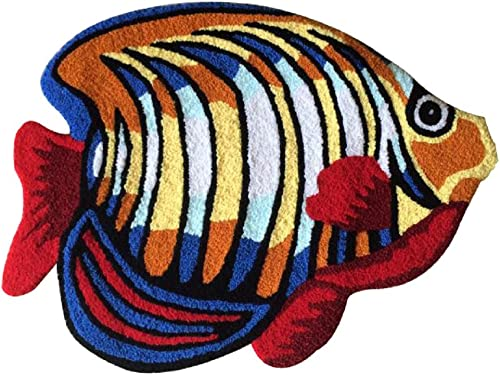 YOUSA Colorful Fish Shaped Bedside Rug Animal Design Area Rugs 23.6''31.5''