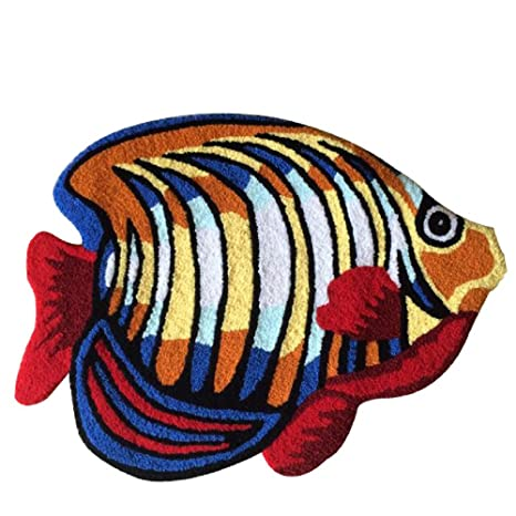Amazon Com Yousa Colorful Fish Shaped Bedside Rug Animal Design