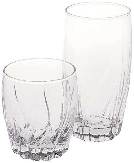 Anchor Hocking Central Park Small and Large Drinking Glasses, 16-Piece Glassware Set