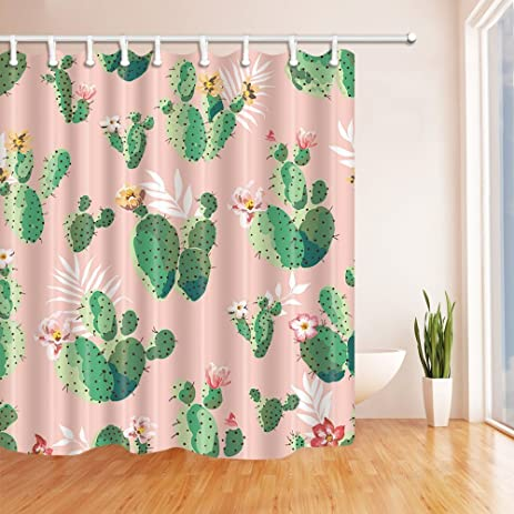 KOTOM Prickly Plants Cactus Flower Shower Curtain 69X70 Inches Mildew  Resistant Polyester Fabric Bathroom Fantastic Decorations