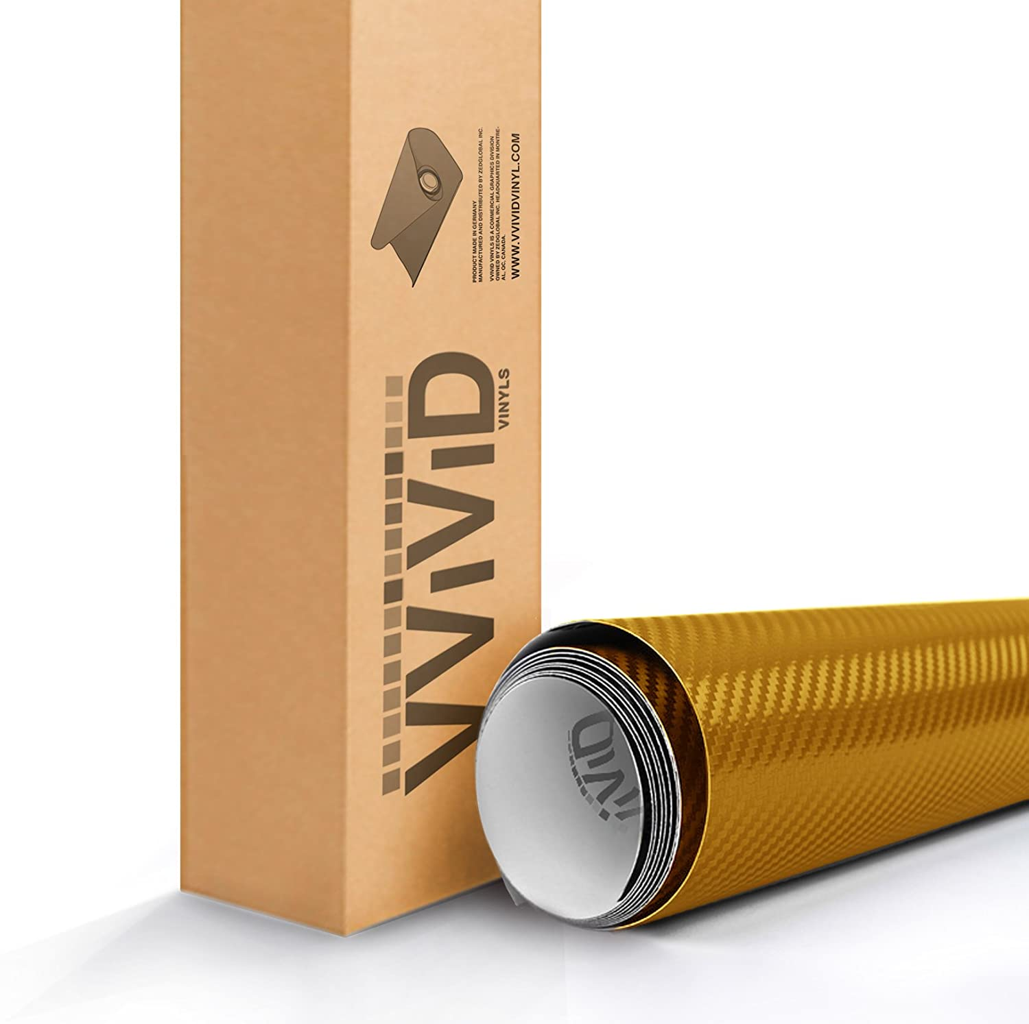 3ft x 5ft VViViD XPO Dry Carbon Fiber Gold Vinyl Wrap Roll with Air Release Technology