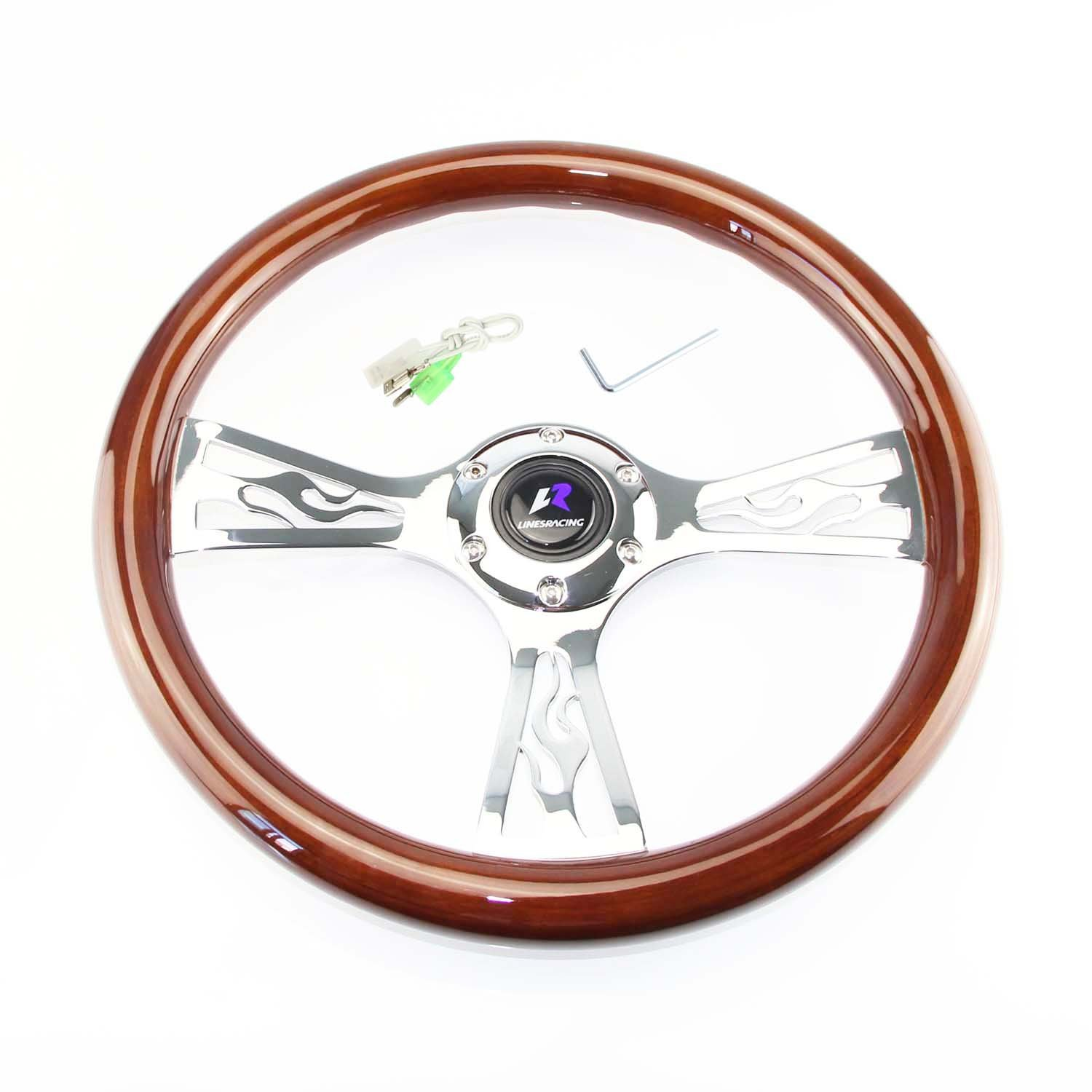 LR Universal 14'' steering wheel with horn, 6 bolts 1.75'' Dish, Mirrored Chrome Spoke (Wood / Classic T spoke)