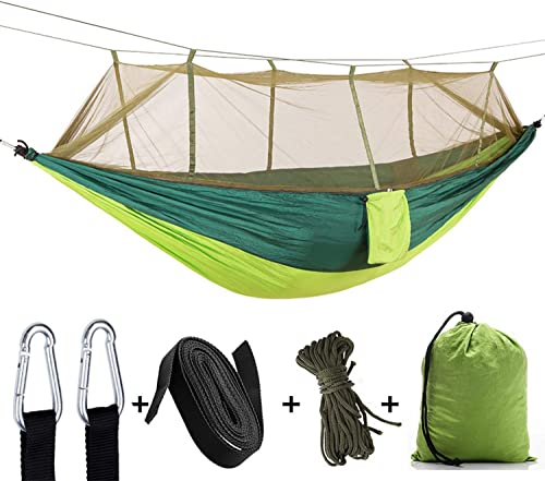 Single Double Best Hammock Camping with Mosquito Bug Net – Easy Assembly Parachute Nylon Hammock with 10ft Hammock Tree Straps Carabiners for Camping, Backpacking, Survival, Travel