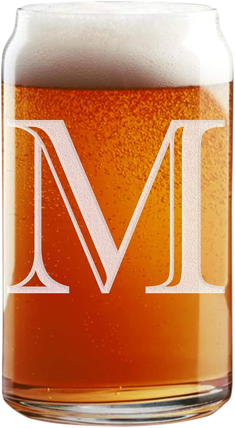 Amazon Com Etched Monogram 16oz Can Glass For Soda Or Beer Letter M Beer Glasses