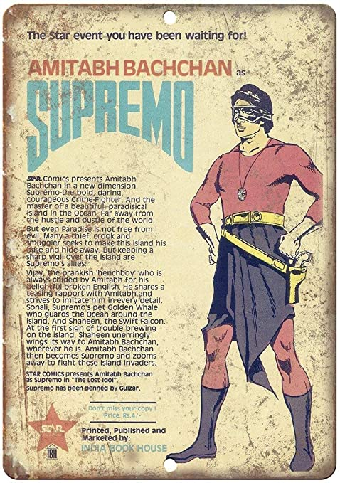 Shunry Supremo Amitabh Bachchan Comic Book Placa Cartel ...
