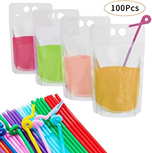 100 PCS Heavy Duty Zipper Drink Pouches Reclosable Stand-up Bags with 100 Pcs Reusable Drink Straws for Smoothie, Cold & Hot Drinks