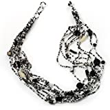 Black & White Multistrand Glass Bead Necklace - 48cm Length