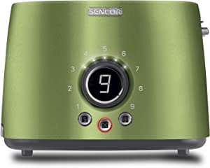 Sencor STS6050GG Premium Metallic 2-slot High Lift Toaster with Digital Button and Toaster Rack, Light Green