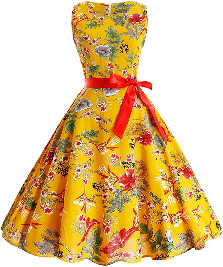 Yellow 4,Medium general3 Women Vintage 1950s Audrey Hepburn Sleeveless O-Neck Printing Pleated Cocktail Prom Swing Party Dress