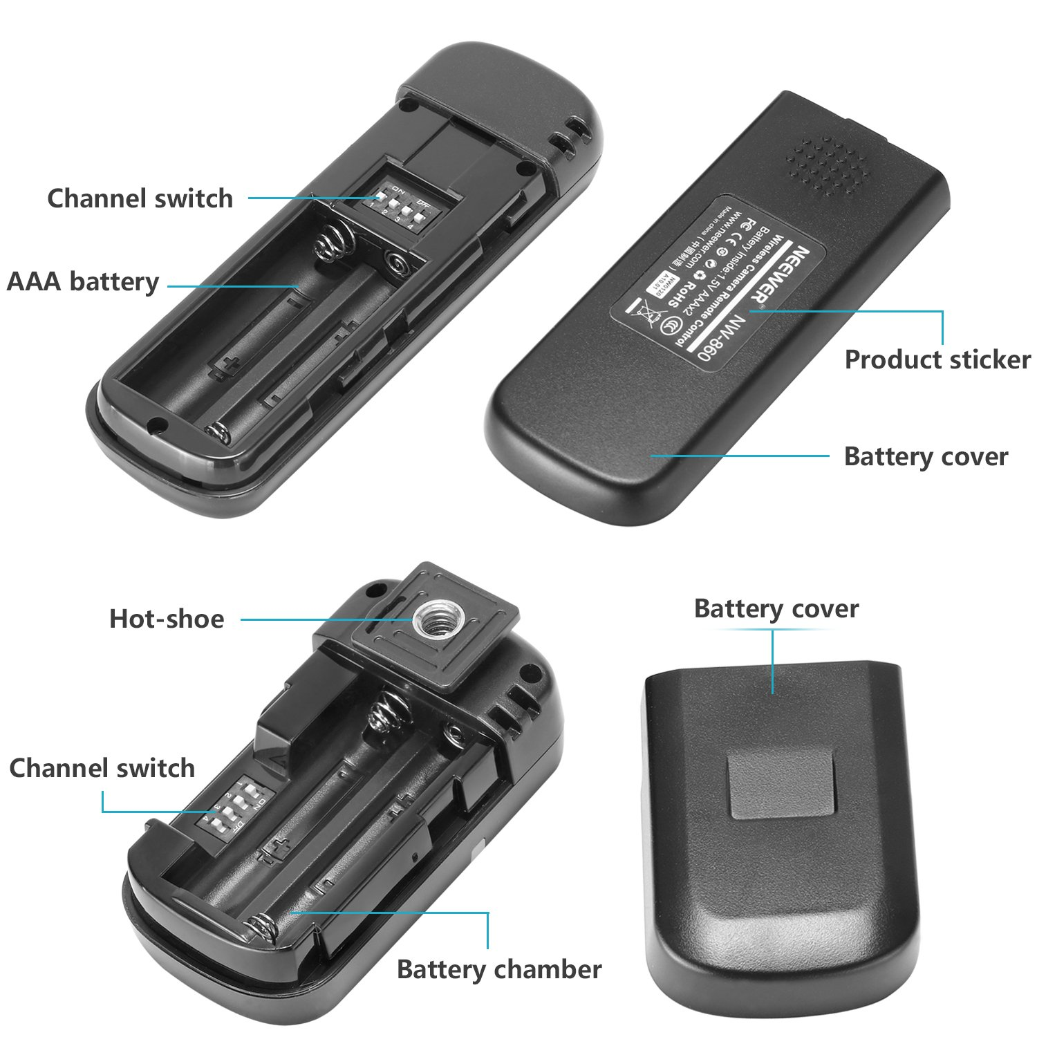 Neewer Dslr Camera Shutter Release 320ft Photo R C Switch For Radio Control Includes
