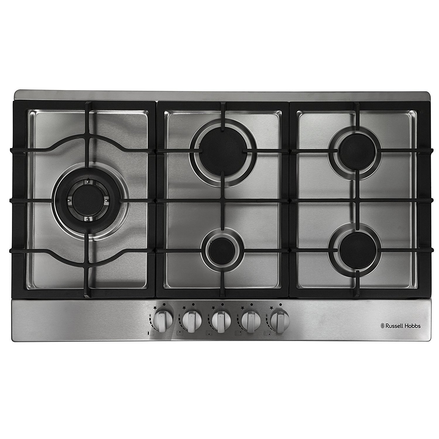 Russell Hobbs RH75GH601SS Stainless Steel 75cm Wide, 5 Burner Gas Hob, Free 2 Year Guarantee