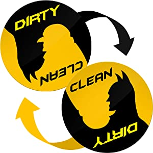 Dishwasher Magnet Clean Dirty Sign with Metal Magnetic Plate - Clean Dirty Dishwasher Magnet for Stainless Steel - Great Housewarming Gifts New Home, Gifts for Mom and Dad from Son and Daughter