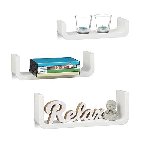 Relaxdays Wandregal 3er Set Dekorative U Form Wandboards Kleine Holz Regalbretter 10 Cm Tief Bis 40 Cm Breit Weiß