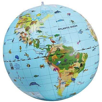 Globo terráqueo inflable con animales en ingles: Amazon.es: Bebé